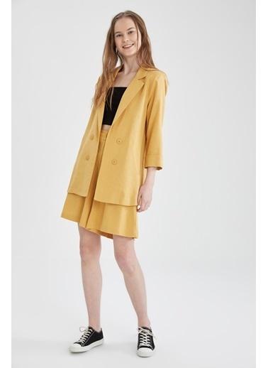 DeFacto Fleto Cepli Yarım Kollu Keten Blazer Ceket Sarı